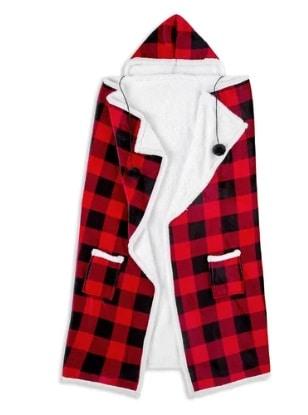 Hooded Buffalo Plaid Blanket