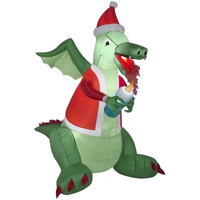 Inflatable Dragon with Santa Hat and Lighted Candle