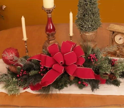 Pine and Berry Poinsettia Centerpiece