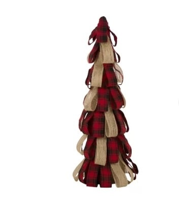 Plaid Burlap Table Tree