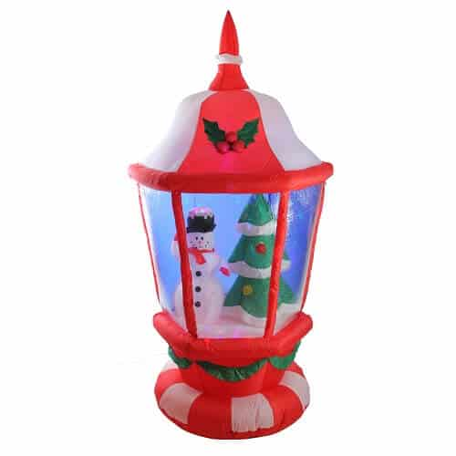 Pre-lit Inflatable Lantern with Snowman and Christmas Tree