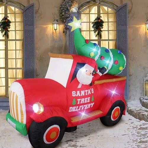 Red Truck with Santa and Christmas Tree Inflatable