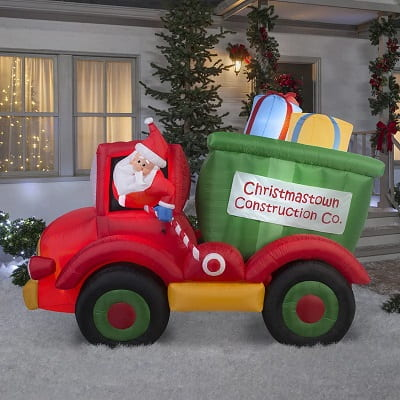 Santa Dumptruck With Gifts - Inflatable Outdoor Christmas Decorations