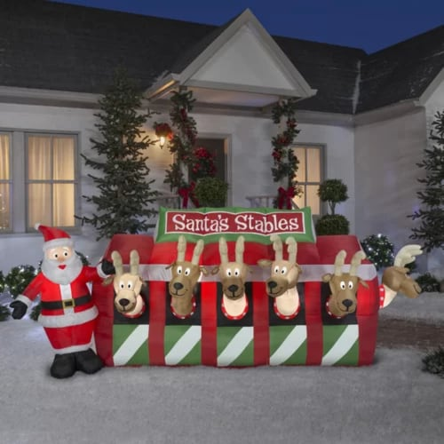 Santa Reindeer Stable Giant Inflatable   Christmas inflatable yard decorations