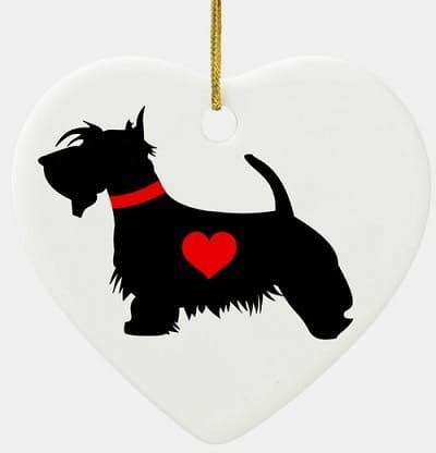 Scottie Dog Heart Ornament