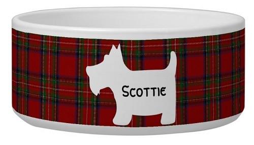 Tartan Bowl With Scottie Dog Silhouette