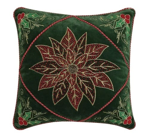 Velvet Poinsettia Throw Pillow