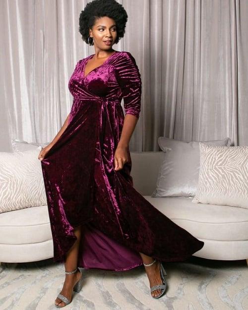 Velvet Wrap Dress - Plus Size Christmas Party Dresses