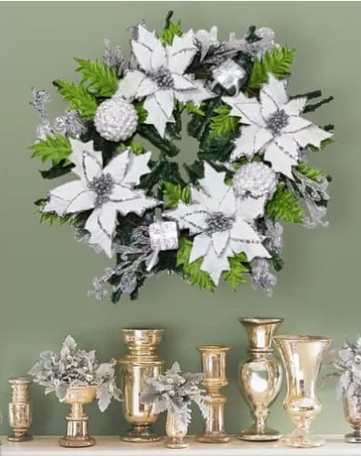 White Poisettia Wreath - Poinsettia Christmas Decorations