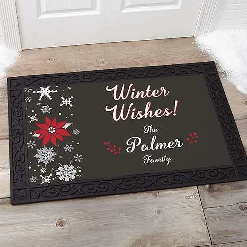 Wintertime Wishes Personalized Doormat