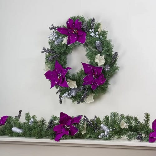 Wreath with Pine Cones, Purple Poinsettias and Berries