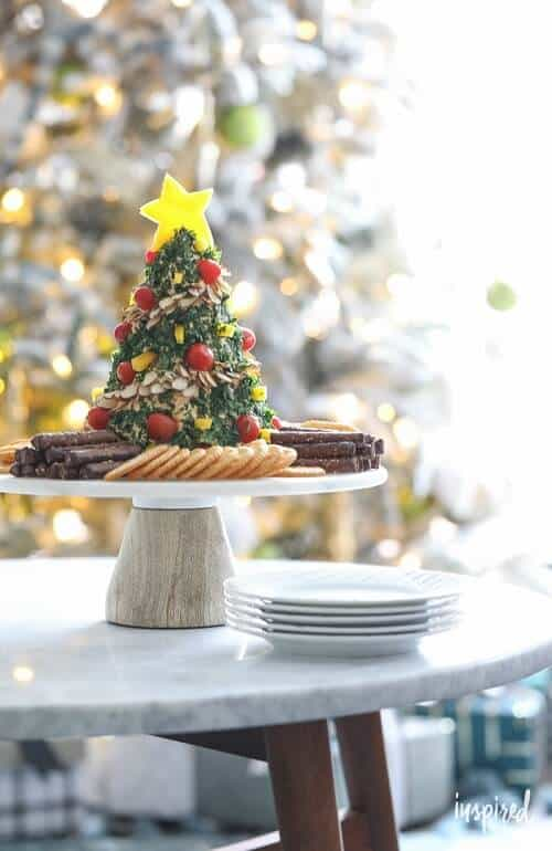 Christmas Tree Cheese Ball Holiday Appetizer