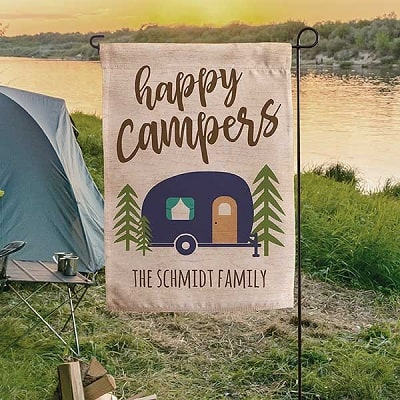 Happy Campers Personalized Camping Flag