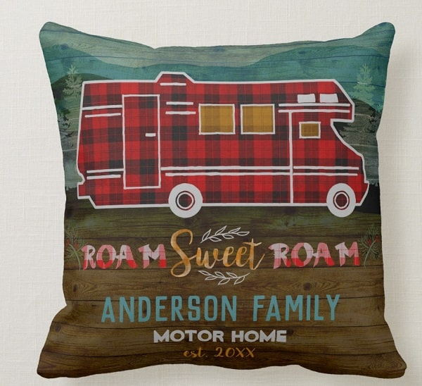 Roam Sweet Roam Motorhome RV Camper Travel Van Rustic Personalized Throw Pillow