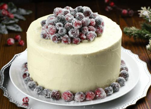 White Chocolate Cranberry Cheesecake Cake