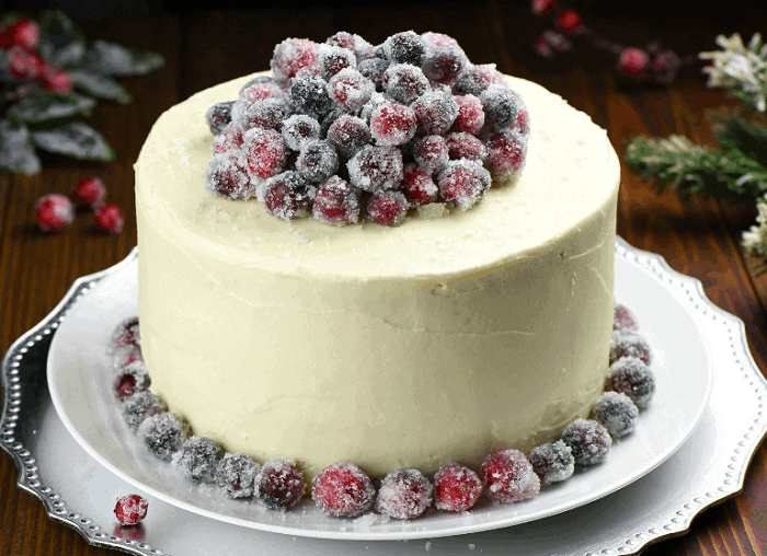 White Chocolate Cranberry Cheesecake Cake