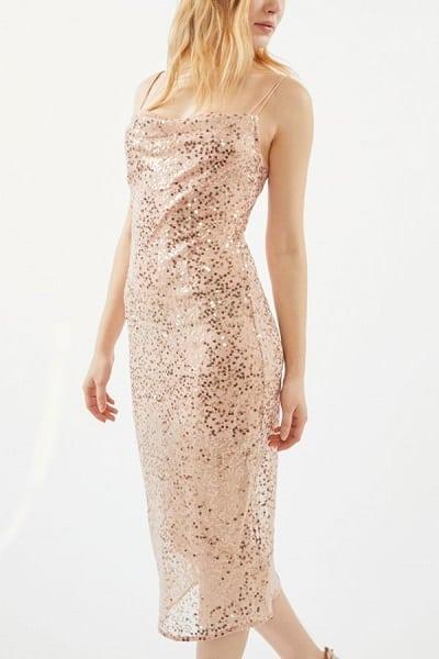 Pink Sequin Midi Dress