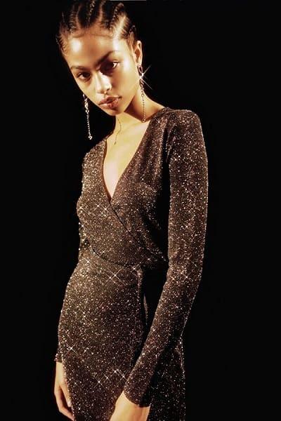 Sparkly Mini Wrap Dress
