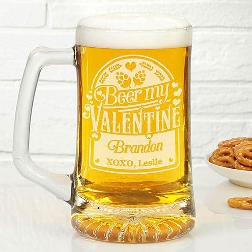 Beer My Valentine Personalized Beer Mug
