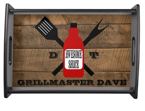 Awesome Sauce Barn Wood Personalized Grill Serving Tray - Personalized Grilling Gift For Dad