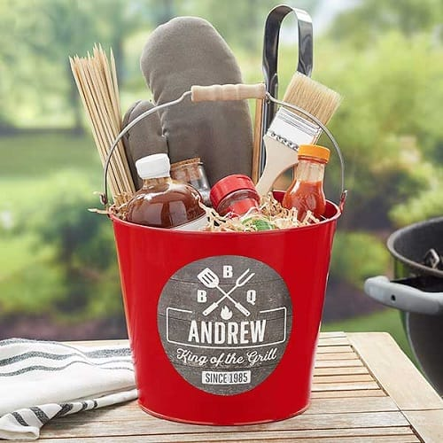 BBQ Time Personalized Red Metal Bucket