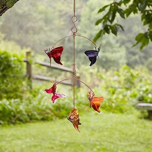 Copper Butterfly Garden Mobile - Garden Decor Gift Ideas