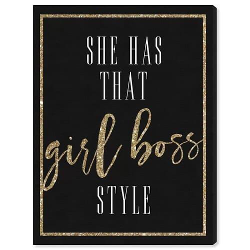Girl Boss Style Glitter' Textual Art
