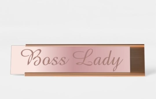 Lady Boss Rose Gold Desk Sign