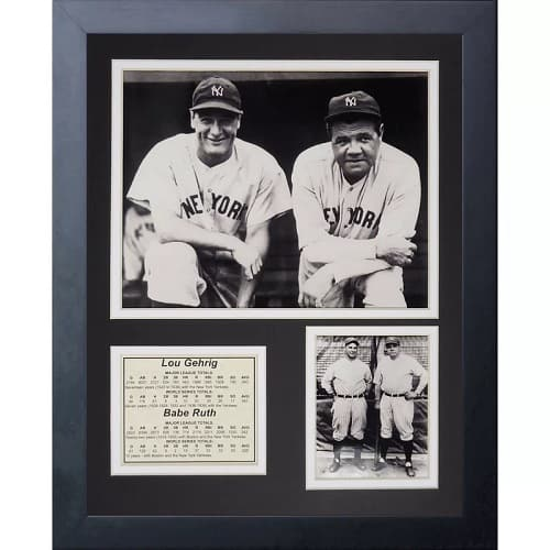 New York Yankees Lou Gehrig and Babe Ruth Portrait Framed Photographic Print