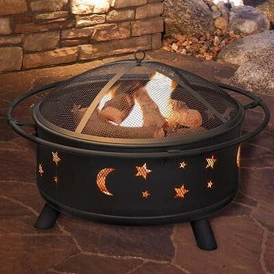 Star and Moon Steel Wood Burning Fire Pit - Garden Gift Ideas