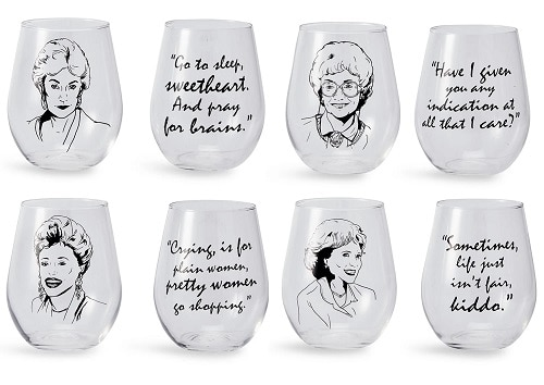 The Golden Girls Stemless Wine Glass Collectible Set of 4