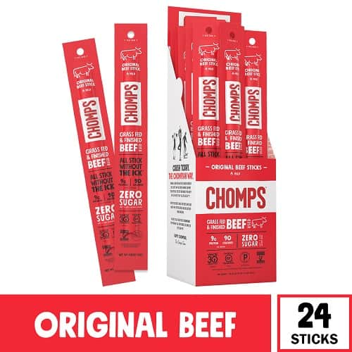 CHOMPS Grass Fed Beef Jerky Snack Sticks - Pack of 24