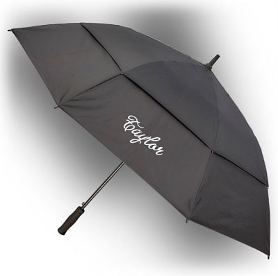Classic Black Embroidered Large Golf Umbrella