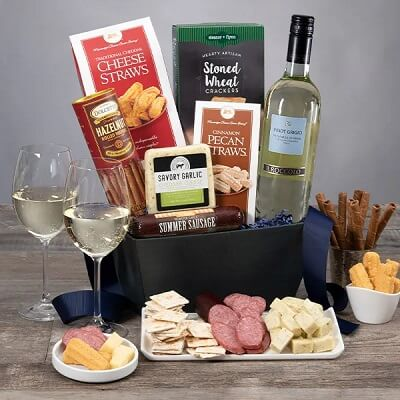 Classic White Wine Gift Basket - Wine Gifts for Mom