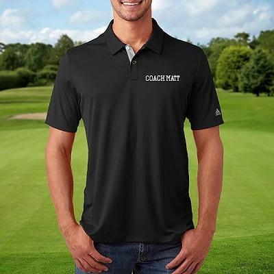 Embroidered Black Adidas Polo Shirt