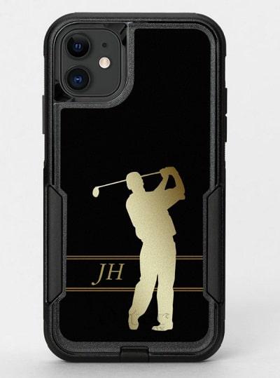 Gold Black Golfer Monogrammed OtterBox Phone Case