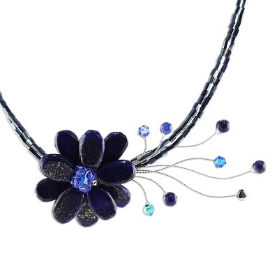 Lapis Lazuli Flower Necklace Midnight Sea