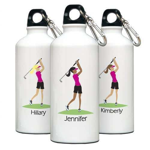 Personalized Go-Girl Water Bottle For Golfer