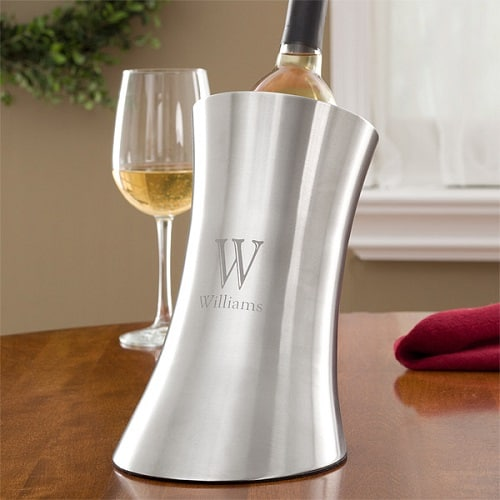 Sleek Elegance Personalized Stainless Steel Wine Chiller