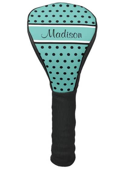 Teal Polka Dot Personalized Golf Head Cover