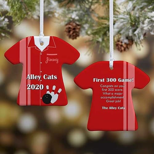 2-Sided Personalized Bowling T-Shirt Ornament
