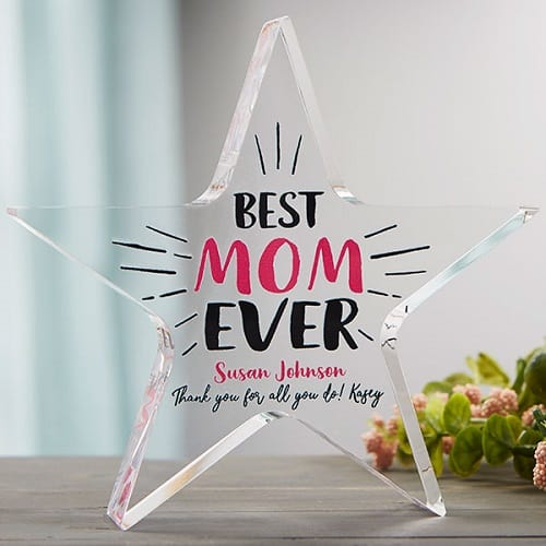 Best Mom Ever Personalized Colored Star Award
