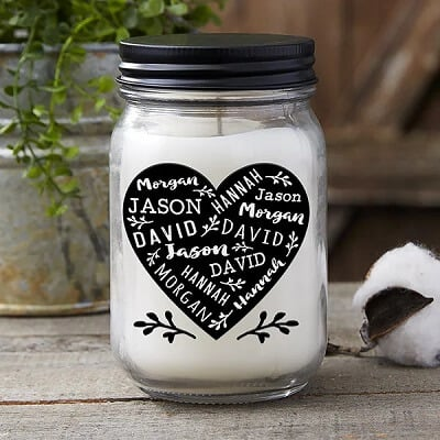 Farmhouse Heart Personalized Candle Jar