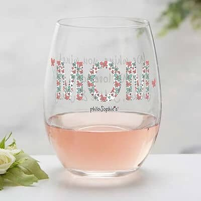 Floral Mom Personalized Stemless Wine Glass