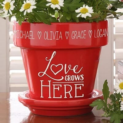 Love Grows Here Personalized Flower Pot Red