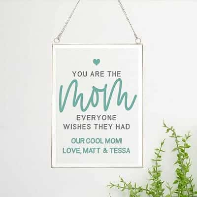 Mom Personalized Hanging Glass Wall Decor