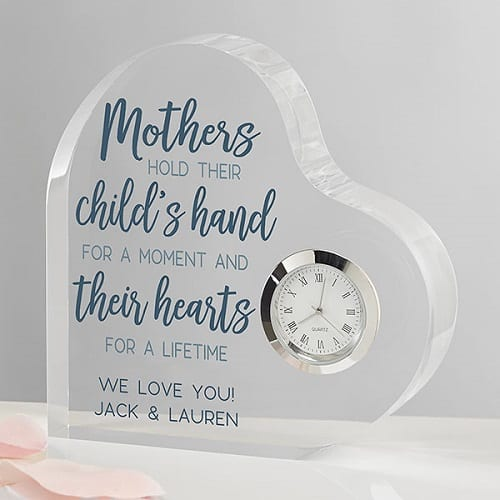 Moments With Mom Personalized Colored Heart Clock