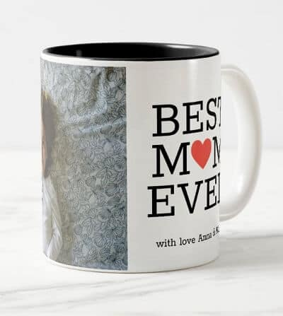 Personalized Best Mom Ever Heart Photo Coffee Mug
