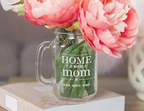 Personalized Mason Jar Vases for Mom