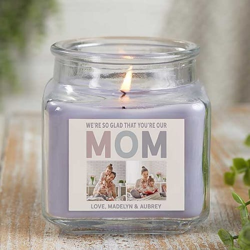 So Glad You're Our Mom Personalized Scented Glass Candle Jar